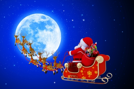 sleighs: santa with his sleigh on blue color background