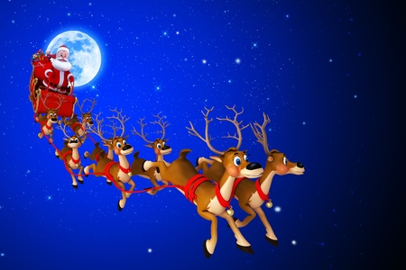 santa with his sleigh on blue color background