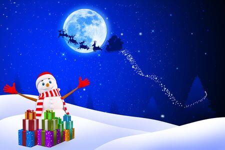 happy snow man on blue background Stock Photo
