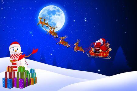 snow man pointing towards sleigh Stock Photo - 15447366