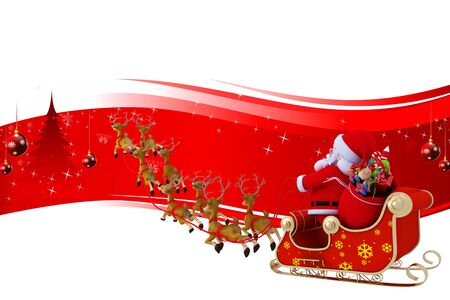 santa with his sleigh on red color background photo