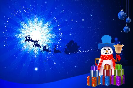 snow man with blue color background photo