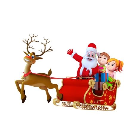 santa with sleigh and kids photo