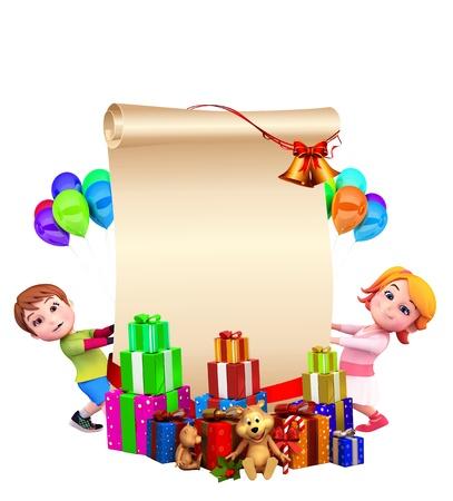tra�neau: enfants avec un grand panneau et cadeaux