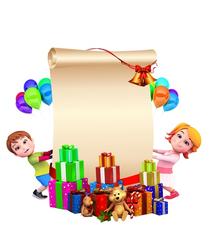 santas sleigh: kids with a big sign and gifts Stock Photo
