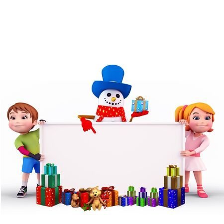 kids with gift box and sign