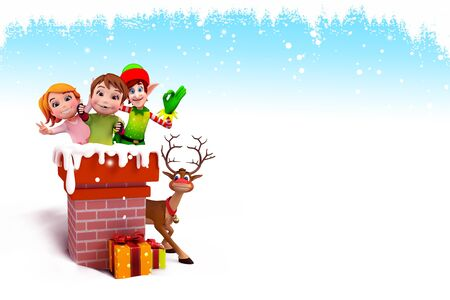 elves with kid inside chimney photo
