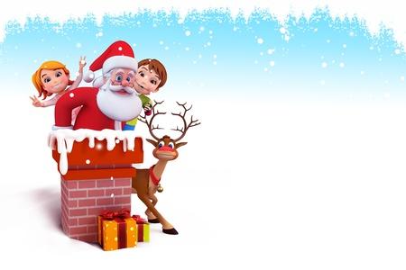 santa coming from chimney