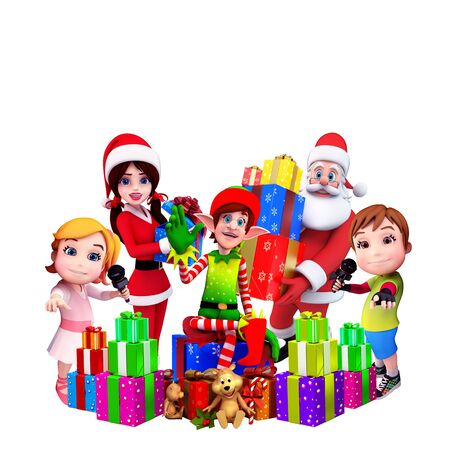 elves with santa girl and kids photo