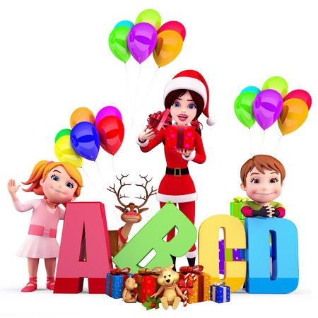 santa girl with abc blocks photo