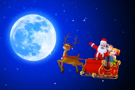santaclaus pointing towards moon Stock Photo - 15717413