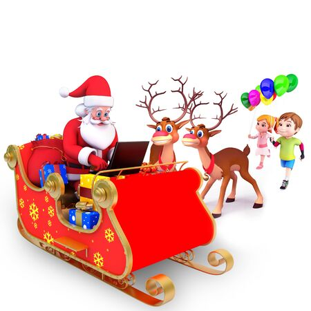 santa claus with sleigh and kids photo