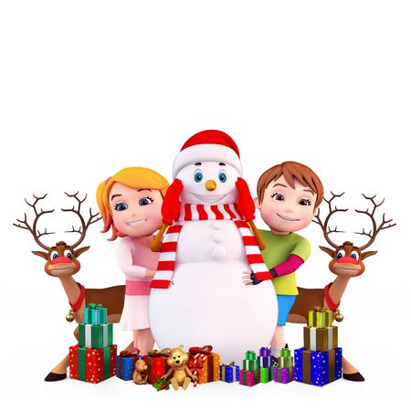kids with snow man and reindeer