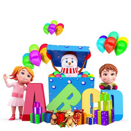 kids with snow man and balloons Stock Photo