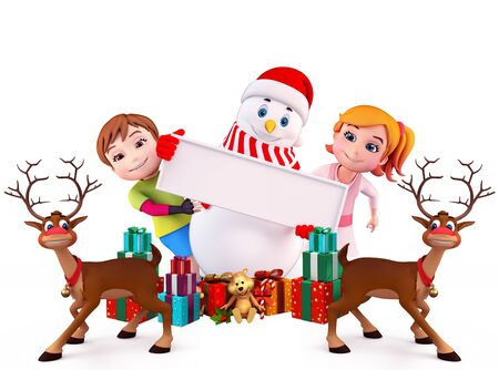 snowman with kids and sign Stock Photo
