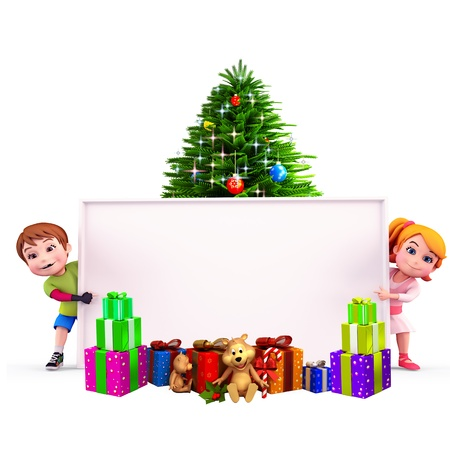 kids with christmas tree and sign Stock Photo