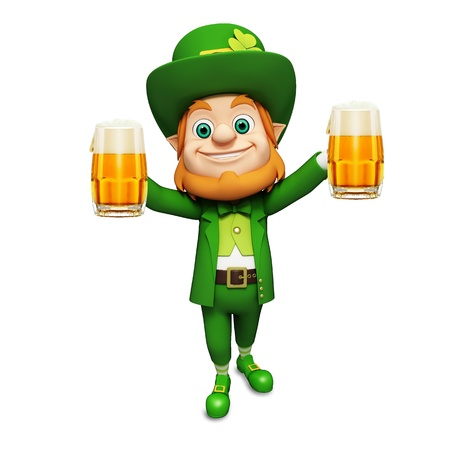Leprechaun for st  patrick s day with two beer glasses photo