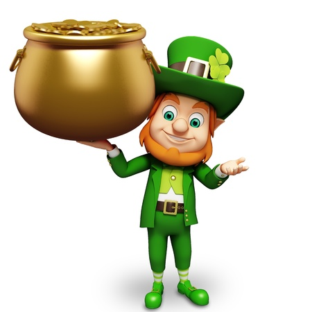 patrick      s day: Leprechaun for st  patrick s day with golden coins