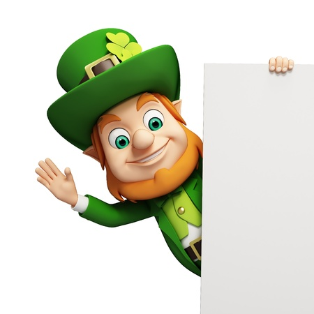 Leprechaun for st  patrick s day with big sign photo