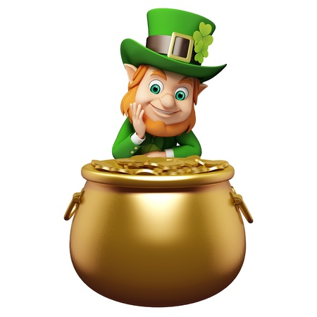 Leprechaun for st  patrick s day with golden coins photo