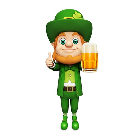 patrick      s day: Leprechaun for st patrick s day with beer Stock Photo
