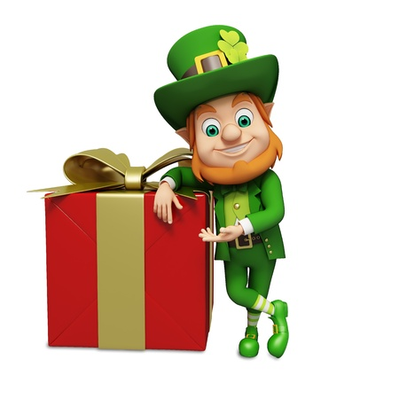 patrick      s day: Leprechaun for st patrick s day with gift box  Stock Photo