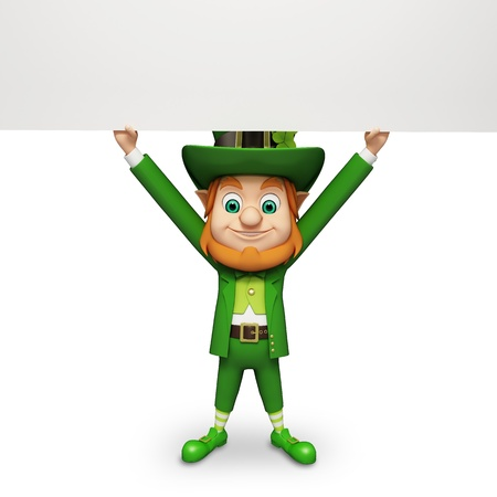 Leprechaun for st patrick s day holding big sign photo