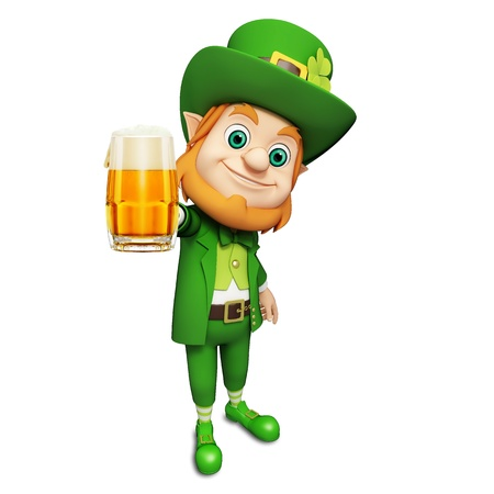 st  patrick's day: Leprechaun for st patrick s day with beer Stock Photo