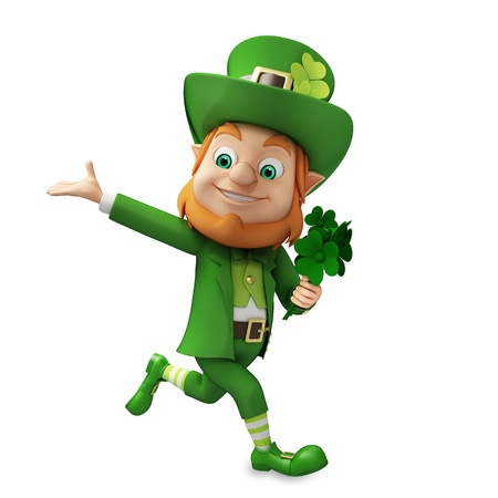 st patrick s day: Running Leprechaun for st patrick s day Stock Photo