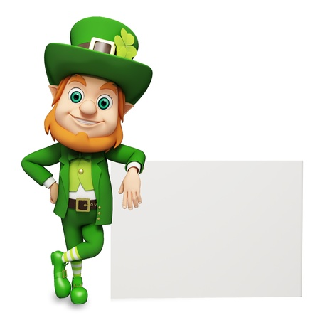 cartoon leprechaun: Leprechaun for st  patrick s day with big sign