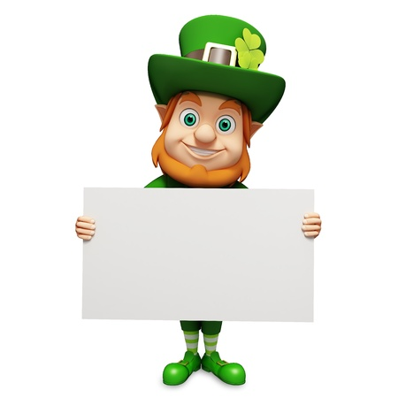Leprechaun for st  patrick s day with big sign