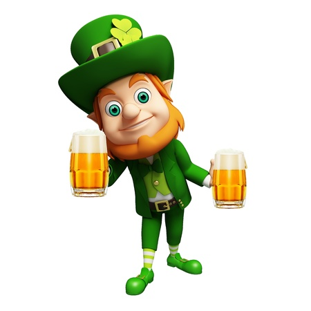st  patrick's day: Leprechaun for st  patrick s day with two beer glasses Stock Photo