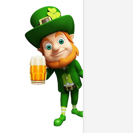 st  patrick's day: Leprechaun for st  patrick s day with big sign and beer glass
