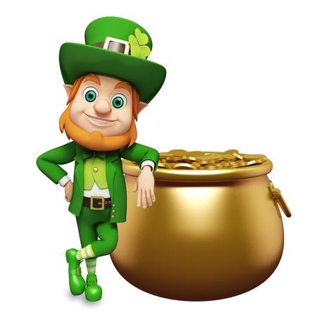 Leprechaun para el día de st patrick s con monedas de oro Foto de archivo