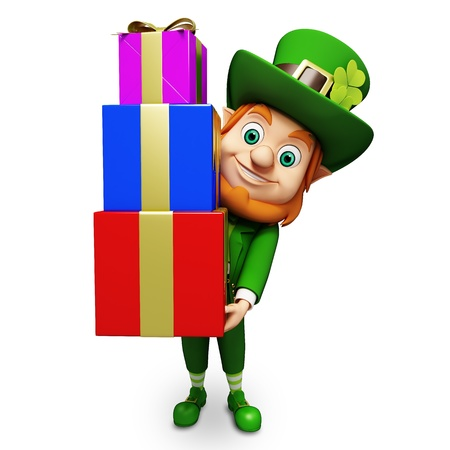 st  patrick's day: Leprechaun for st  patrick s day with pile of gifts Stock Photo