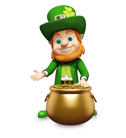 st  patrick's day: Leprechaun for st  patrick s day with golden coins