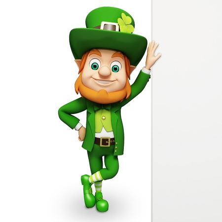 Leprechaun with big sign for st patrick s day photo