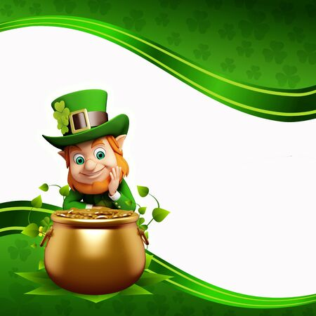 Leprechaun for st patrick day with golden coins photo
