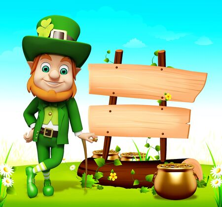 Leprechaun for st patrick day with big sign and coins photo