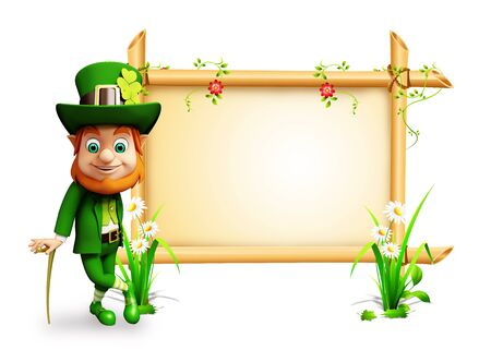 Leprechaun for st patrick day with big sign photo