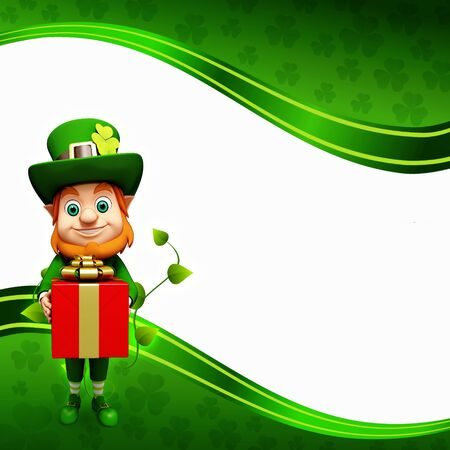 Leprechaun for st patrick day with gift box Stock Photo - 19283971