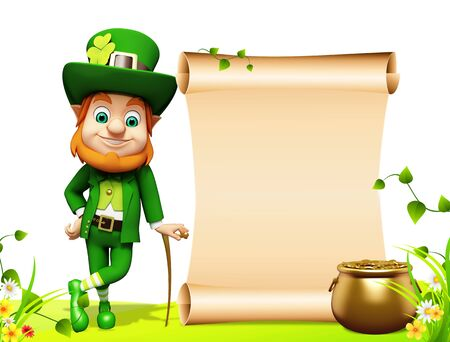 Leprechaun for st patrick day with golden coins and pot Stock Photo - 19283977