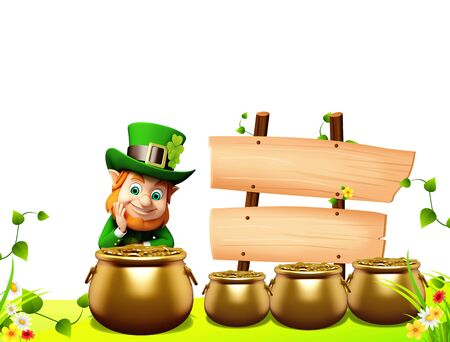 Leprechaun for st patrick day with golden coins and pot Stock Photo - 19283988
