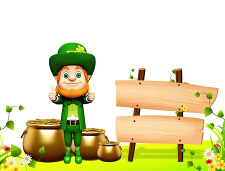 Leprechaun for st patrick day with golden coins and pot photo