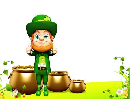 Leprechaun for st patrick day with golden coins and pot Stock Photo - 19283976