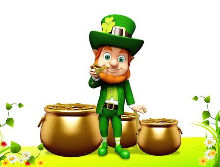 Leprechaun for st patrick day with golden coins and pot Stock Photo - 19283985