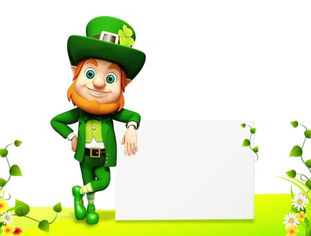 Leprechaun for st patrick day with sign  Stock Photo - 19283970
