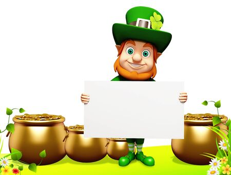 leprechaun on clover: Leprechaun for st patrick day with golden coins and pot with sign