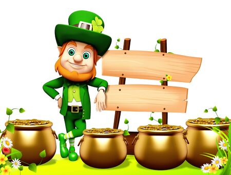 Leprechaun for st patrick s day with golden coins and pot with wooden sign photo