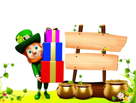 Leprechaun for st patrick s day with golden coins and pot with gifts photo